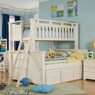 Casual Wood Weathered White Twin over Full Bunk Bed
