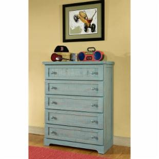 Casual Wood Weathered Blue 5-Drawer Chest