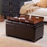  Livingston Storage Ottoman with Tray Tables - Brown
