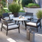  Sunqueen All-Weather Wicker and Wood Conversation Set - Seats 4