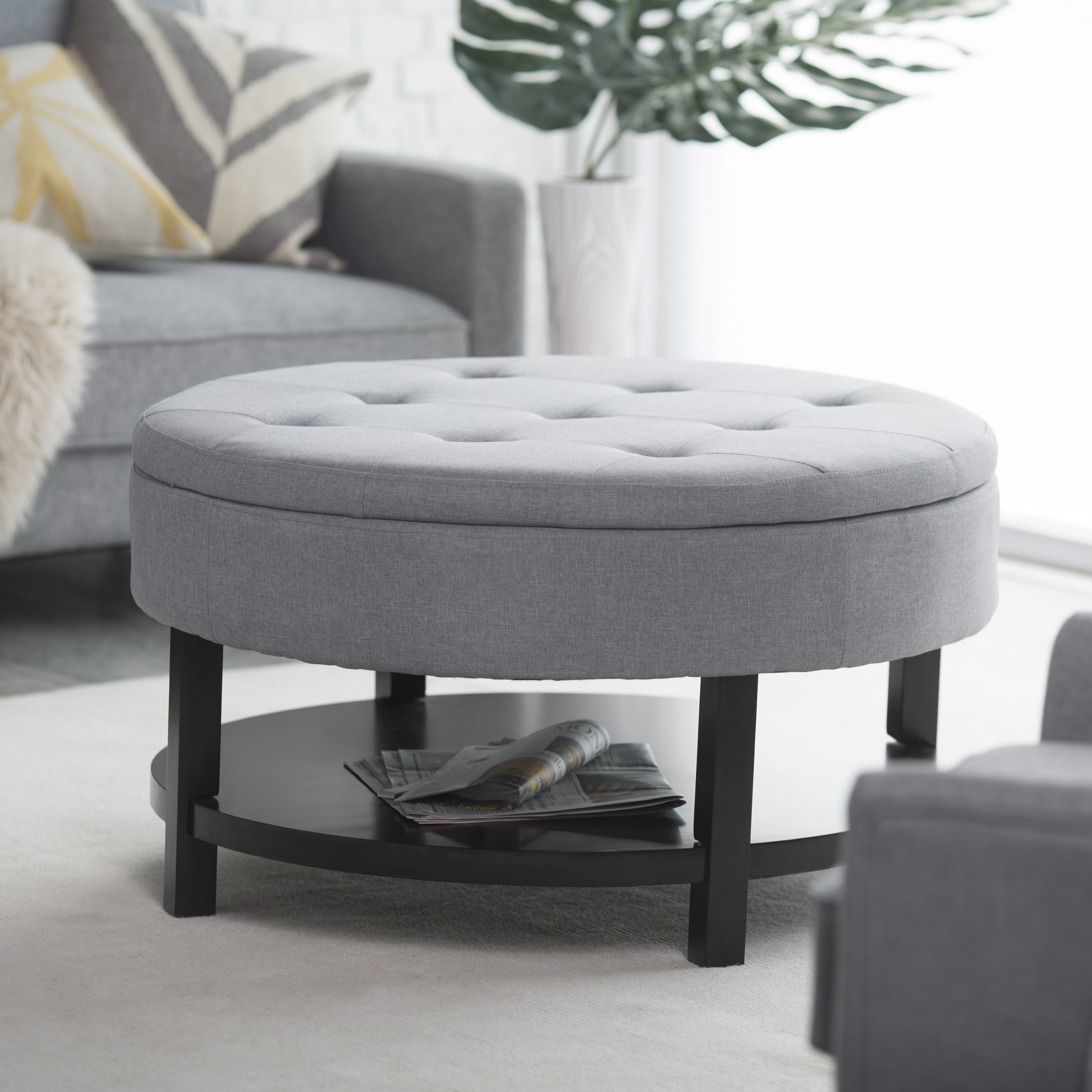 Belham Living Coffee Table Storage Ottoman With Shelf