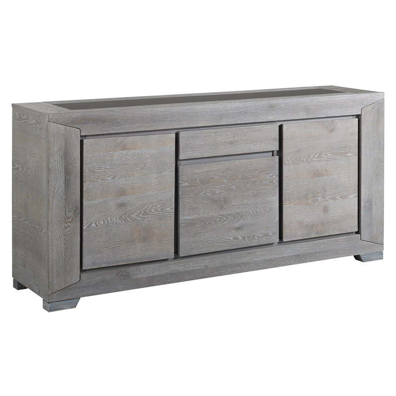 Parisot titan gray solid oak sideboard with 3 doors buffets sideboard - Buffet 3 portes 3 tiroirs ...
