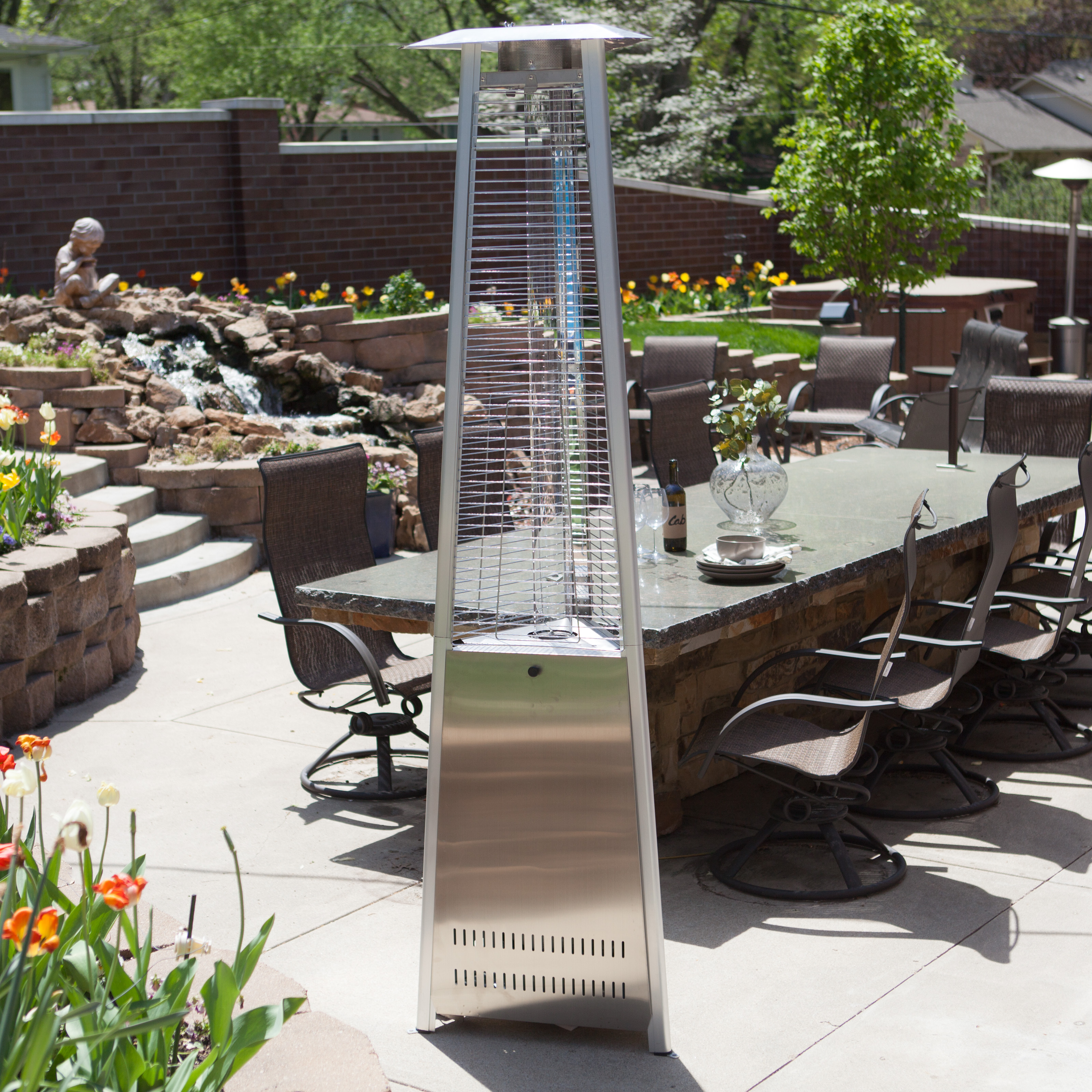 Red Ember Glass Tube mercial Stainless Steel Patio