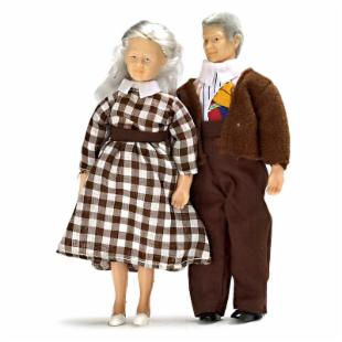 Grandparents Dollhouse Miniature Doll Set
