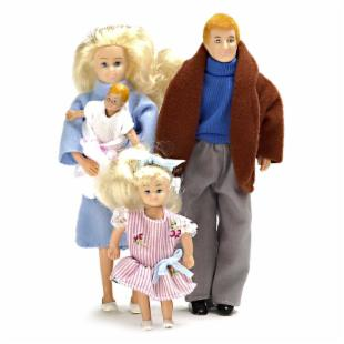 Modern Blonde Doll Family of 4 Dollhouse Miniature Set