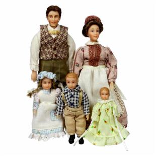 Peterson Country Victorian Family of 5 Dollhouse Miniature Set