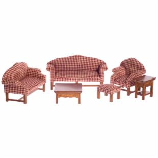 Walnut &amp; Red Plaid Living Room Dollhouse Miniature Set