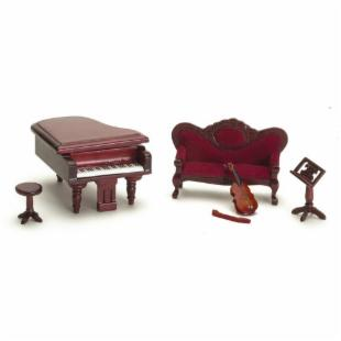 Town Square Miniatures Mahogany Music Room Set