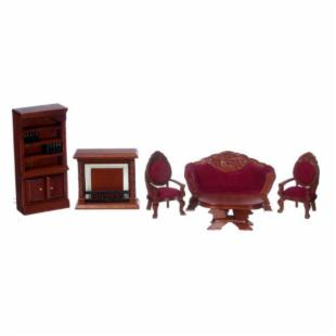 Town Square Miniatures Mahogany Living Room Set - 6 Piece