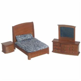 Town Square Miniatures Pecan Double Bedroom Set