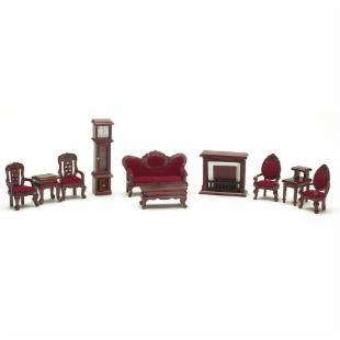 Town Square Miniatures Mahogany Living Room Set - 10 Piece