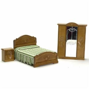 Town Square Miniatures Walnut Double Bedroom Set - 3 Piece