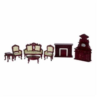 Town Square Miniatures White Mahogany Living Room Set - 7 Piece