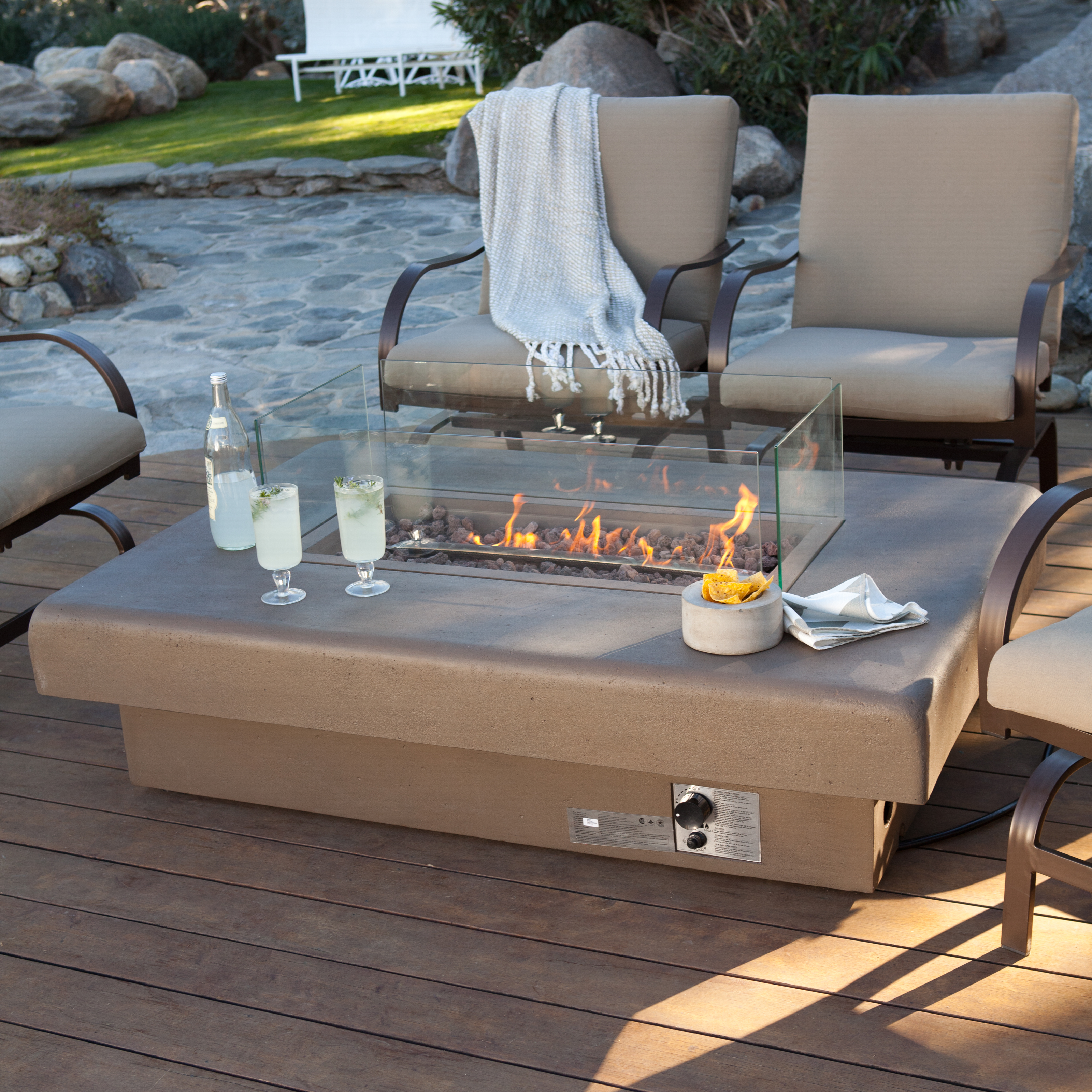 Palazetto 60 in gas fire table sand at hayneedle for Foyer ethanol exterieur