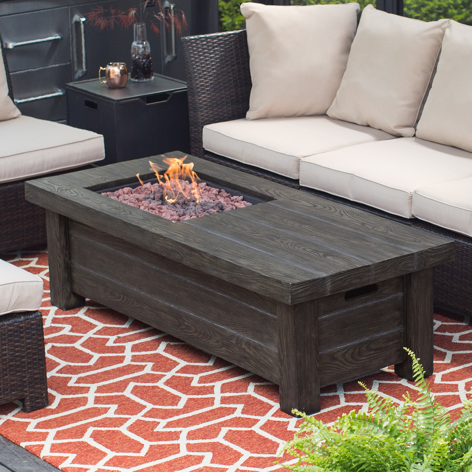 Red Ember Driftwood Fire Pit Table Fire Pits At Hayneedle