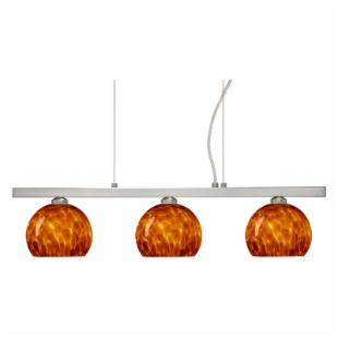 Besa 3LP-565818-SN Amber Matte Cloud Palla Pendant - 22.5W in. Satin Nickel