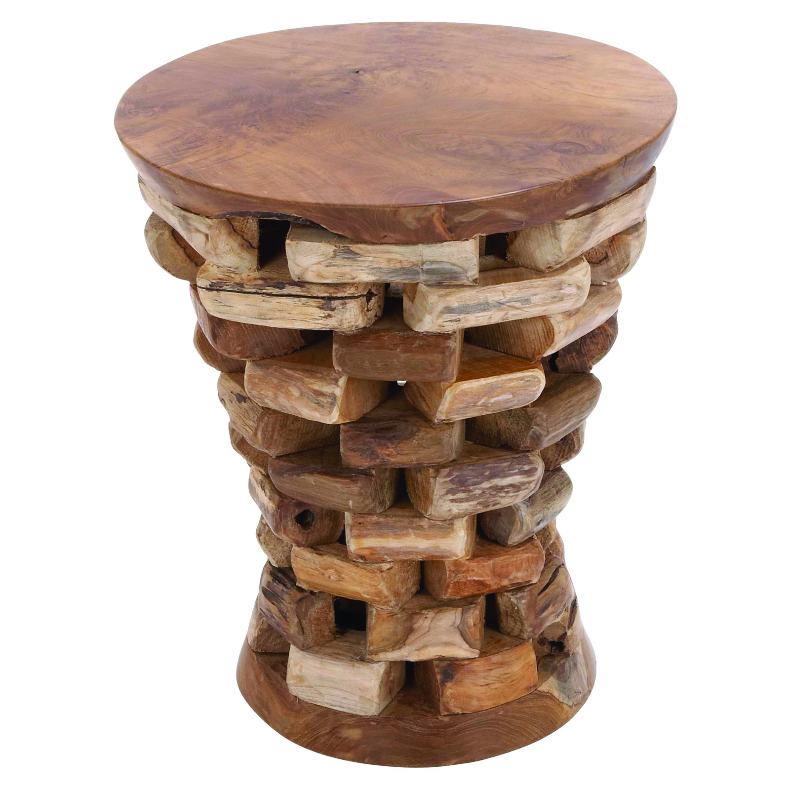 benzara round shaped teak wooden accent table in natural rich textures end tables at hayneedle. Black Bedroom Furniture Sets. Home Design Ideas