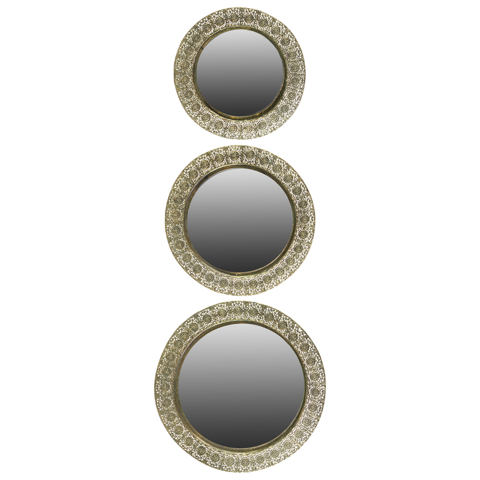 benzara metal round wall mirror set of 3 mirrors at hayneedle. Black Bedroom Furniture Sets. Home Design Ideas