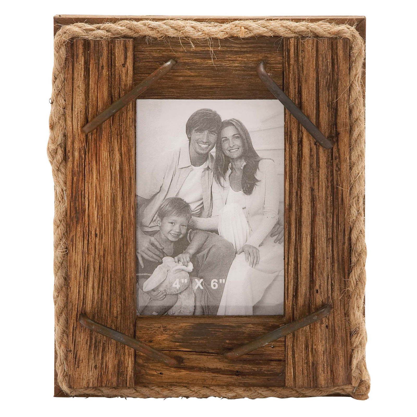 Woodland imports rustic wood and rope picture frame Rope photo frame