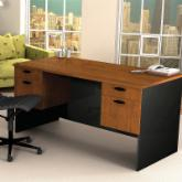 Bestar Hampton Executive Computer Desk-Tuscany Brown & Black