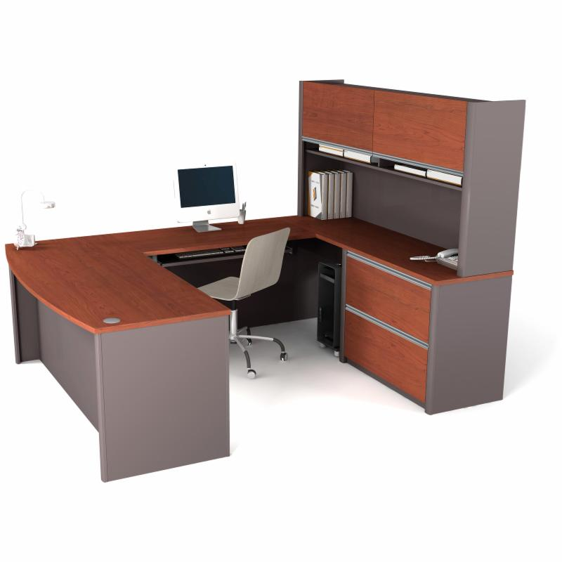 cabot l shaped desk with hutch and bookcase by bush office. Black Bedroom Furniture Sets. Home Design Ideas