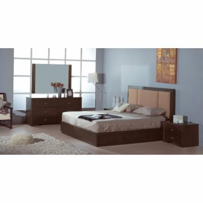 Beverly Hills Furniture Atlas-Full-Fabric-HB Atlas Full 6 Drawers Storage Bed in Wenge with Taupe Fabric Headboard