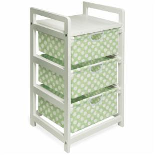 Badger Basket White Three Drawer Hamper/Storage Unit - Sage Polka Dots