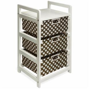 Badger Basket White Three Drawer Hamper/Storage Unit - Brown Polka Dots