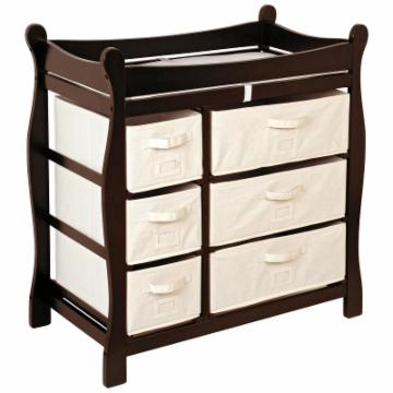 Badger Basket Espresso Sleigh Style Changing Table with 6 Baskets