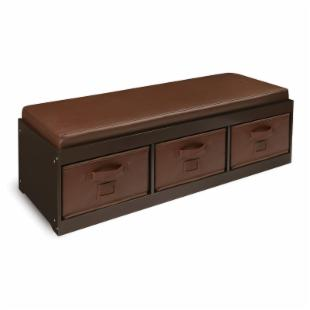 Badger Basket Kids Storage Bench with Cushion &amp; 3 Bins - Espresso