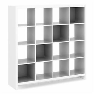 kathy ireland Office by Bush Furniture New York Skyline 16-Cube Bookcase/Room Divider - Plumeria White