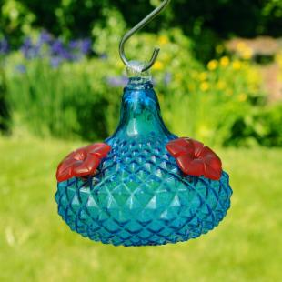 Jewel Hummingbird Feeder -Aqua