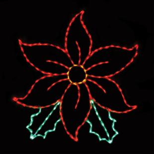 53 in. Outdoor LED Large Poinsettia Display - 200 Bulbs