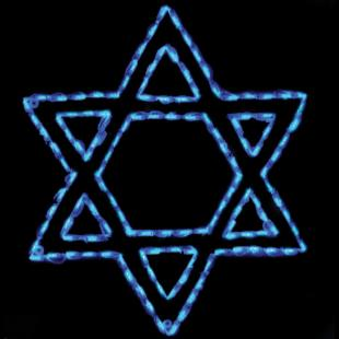 33 in. Outdoor LED Star of David Lighted Display - 132 Bulbs