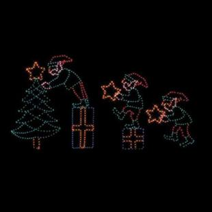 86 in. Outdoor Elf Relay Scene Lighted Display - Set of 4
