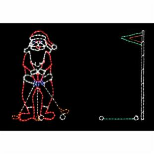 80 in. Outdoor LED Golfing Santa Lighted Display - 300 Bulbs