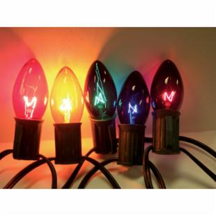Brite Ideas 25 Bulb Multi-Color C7 Incandescent Transparent Light Set