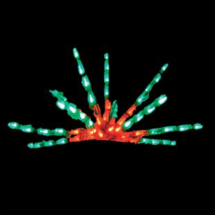 24-Inch Red &amp; Green Flat LED Starburst - 65 Bulbs - Set of 3