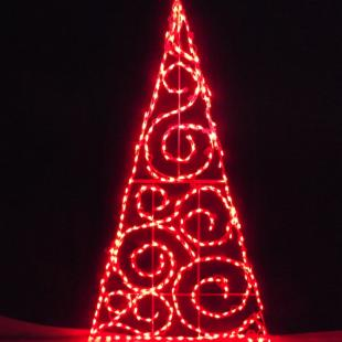 72 in. Outdoor LED Red Scroll Tree Lighted Display - 280 Bulbs