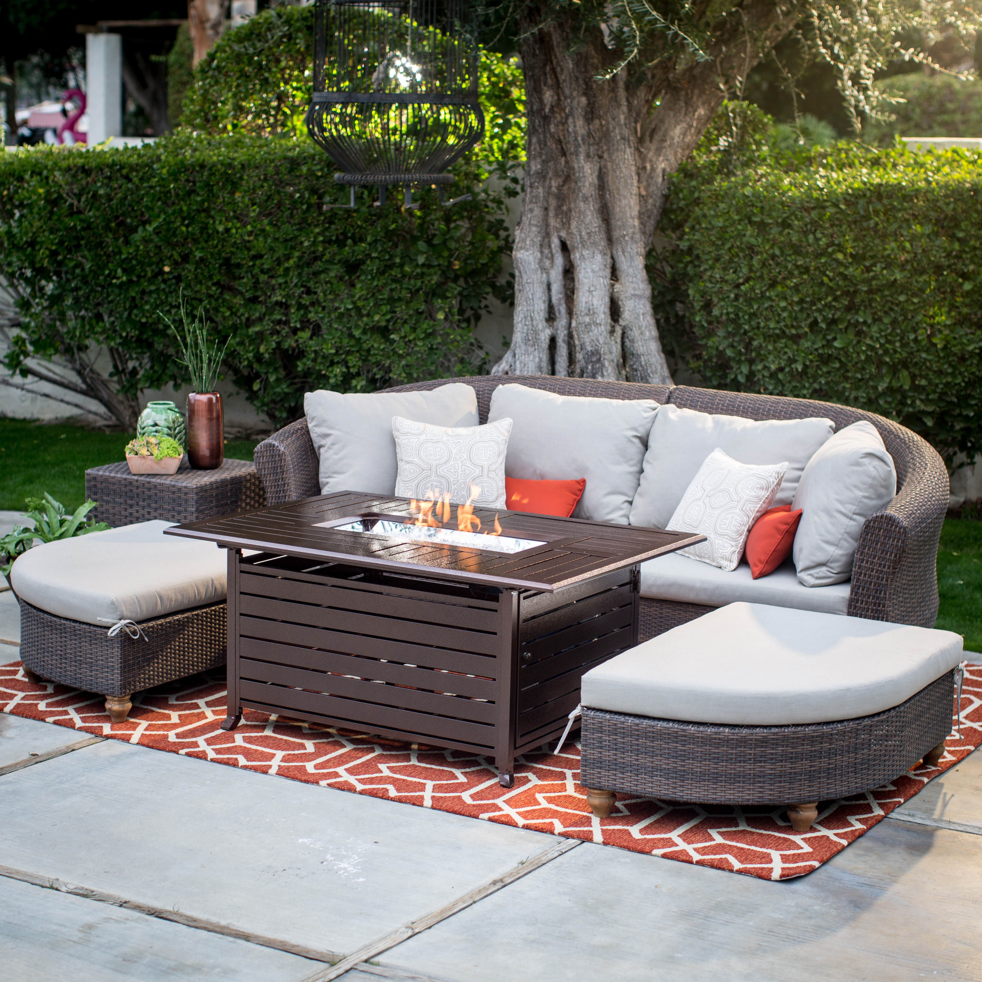 Belham Living Sofa Sectional Set With Longmont Fire Pit