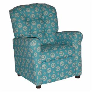 Brazil Furniture 4 Button Back Child Recliner - Blue Peace