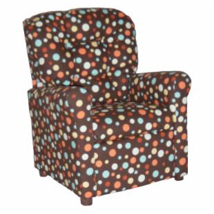 Brazil Furniture 4 Button Back Child Recliner - Chocolate Spa Spirodots