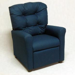 Brazil Furniture 4 Button Back Child Recliner - Steel Blue Dixie