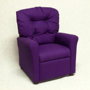 Brazil Furniture 4 Button Back Child Recliner - Solid Purple