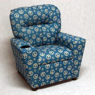 Brazil Furniture Cupholder Child Recliner - Blue Peace
