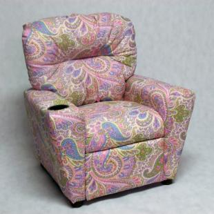 Brazil Furniture Cupholder Child Recliner - Girly Paisley