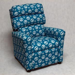 Brazil Furniture Waterfall Back Child Recliner - Blue Peace