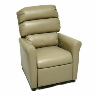 Brazil Furniture Waterfall Back Child Recliner - Vinyl Taupe