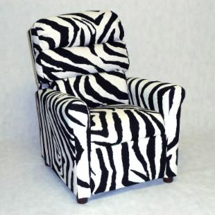 Brazil Furniture Waterfall Back Child Recliner - Zebra