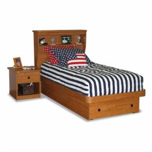 Sierra Platform Bed with Storage and Bookcase Headboard